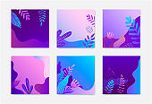 Vector set of nature square cards, backgrounds, banners. illustration floral concept for presentation template, cover and design, marketing material. Gradient leaves, flowers, waves.