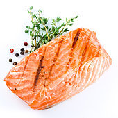 grilled salmon on white background