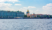 St. Petersburg cityscape with St. Isaac's Cathedral, Hermitage museum and Admiralty building, Russia