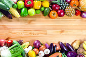 Fresh vegetables and fruits on a wooden background with copy space,Colorful fruits and vegetables,clean eating,vegetables and fruits background,top view,Set of fruits and vegetables,Food concept.