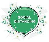 Social distance written banner, chart, flat modern vector.