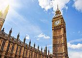 Big Ben tower of Westminster palace, London, UK
