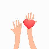 Heart in hands. Love concept, vector illustration