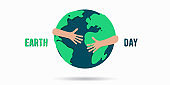 Icon of a person hugging the planet. Earth care symbol.