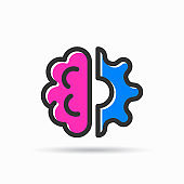 A drawn brain and gear icon, vector illustration