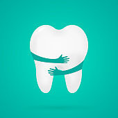 Tooth. with hands. Dental, medicine and health concept design element