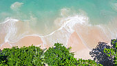 Aerial view landscape of beautiful tropical beach, top view from drone, Aerial view of sandy beach and ocean with waves with palms on the sandy beach, Ao Nang, Krabi, Thailand.