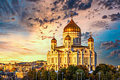 Cathedral of Christ the Saviour, Russian Orthodox Cathedral, Beautiful building architecture, Moscow, Russia, Northern bank of the Moskva River southwest of the Kremlin.