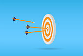 Target arrow flat icon. Arrows hitting target. Business concept.