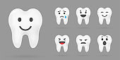 Teeth with smile illustration. Dental care icons