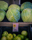 fresh cabbage at a farmers market
