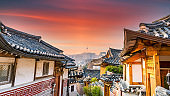 Bukchon Hanok Village in Seoul City, Traditional Korean style ancient architecture building, Seoul, South Korea.