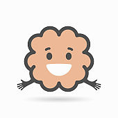 Brain icon in line style. Vector illustration