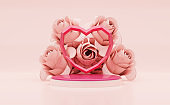 3d rendering Pink studio Background with polygon heart shape on pink podiums stage and roses.