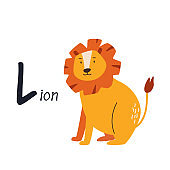 Funny image of lion and letter L. Zoo alphabet collection.