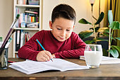 Education at home. Cute child learning mathematics at home. Homeschooling