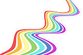 Abstract background with wavy, curved rainbow lines. Vector illustration of striped pattern with optical illusion