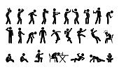 people in various poses, stick figure man icon, isolated silhouettes, alcoholic illustration