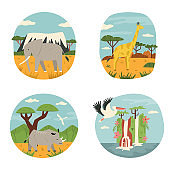 Set of African animals and famous natural objects