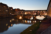 """The Famous Old Bridge over Arno river, illuminated on the occasion of Firenze Light Festival, entitled in homage to Dante """"Sight, from the dark forest to the light"""". Italy."""