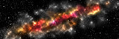 Abstract space background. Illustration of large cluster of stars, colorful nebula. Long vertical banner
