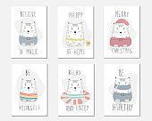 vector collection of cute bears with inspirational inscriptions