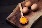 Food ingredients (egg yolks) for serving on a spoon, wooden floor and raw Eggs on wood Background