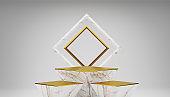 White and Gold marble empty Podium Background.