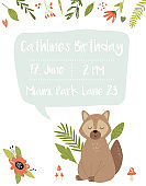 Baby Birthday invitation card with funny raccoon