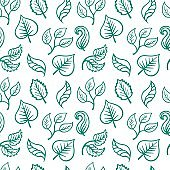 Seamless pattern with hand drawn different green leafs. Sketch drawing various floral elements seamless vector pattern.