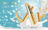 Hydrating facial lipstick for annual sale or festival sale. silver and gold lipstick mask bottle isolated on glitter particles background. Graceful cosmetic ads, illustration EPS10.