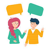 Girl and a guy are talking to each other . Friends to chat