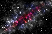 Abstract space background. Illustration of large cluster of stars, colorful nebula.