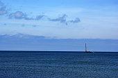 Polish Baltic Sea beautiful blue sea waves ocean horizon sand and beach blue sky