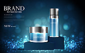 Cosmetics or skin care product ads with bottle, blue background glittering light effect. vector design.