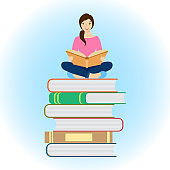 Vector illustration of a girl sitting on a stack of books with an open book in her hands.
