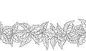 Hand drawn nature seamless pattern with virginia creeper leaves.
