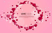 Heart paper art flying circle frame graphic background concept.