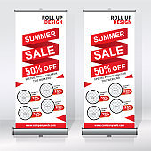 Roll up banner design template, abstract background, pull up design, x-banner, rectangle size.