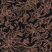 Vector seamless pattern. Art vintage coffee tree