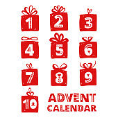 Advent calendar. Christmas holiday celebration cards for countdown. Numbers in gifts