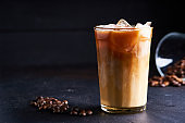 Tasty ice coffee with milk , cold drink in glass on dark background Copy space