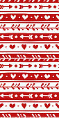 Vector seamless pattern with hand drawn elements for Valentine's Day. Cute design for fabric, wrapping, wallpaper