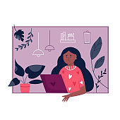 Young freelancer woman working remotely from home. Vector illustration. Home office concept