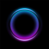 Abstract Neon Circles Banner. Blank 3d Light With Shining Neon Effect. Techno Frame With Glowing On Black Backdrop. Vector illustration.
