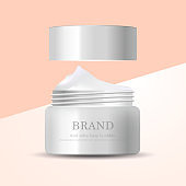Hydrating facial cream for annual sale or festival sale. silver and white cream mask bottle isolated on glitter particles background. Graceful cosmetic ads, illustration EPS10.