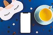 Technologies for a healthy sleep. Smartphone screen mockup. Sleep app.