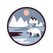 Polar bear on a white snow, Arctic scene, landscape. Vector illustration
