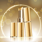Hydrating facial lipstick for annual sale or festival sale. silver and gold lipstick mask bottle isolated on glitter particles background for product presentation. Graceful cosmetic ads, Vector illustration.