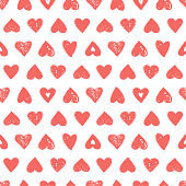 Coral pink hearts seamless pattern. Vector doodle illustration
